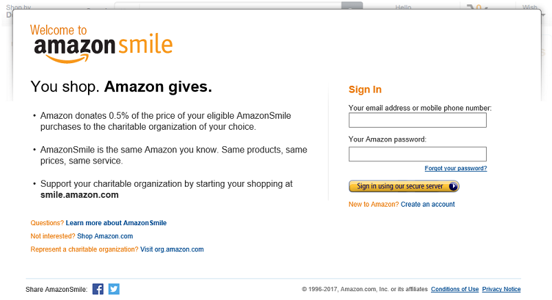 amazon smile screen